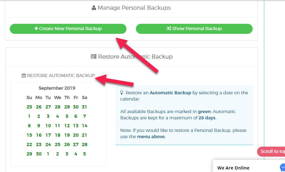 automatic backups on wpx