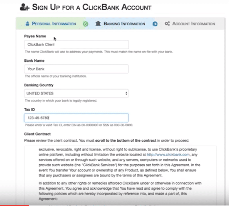 banking info for clickbank