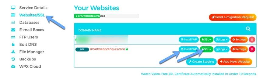 install ssl wordpress wpx hosting