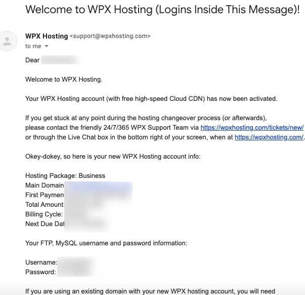 wpx hosting welcome email