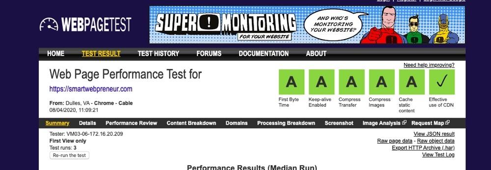 WebPage Speed Test Results