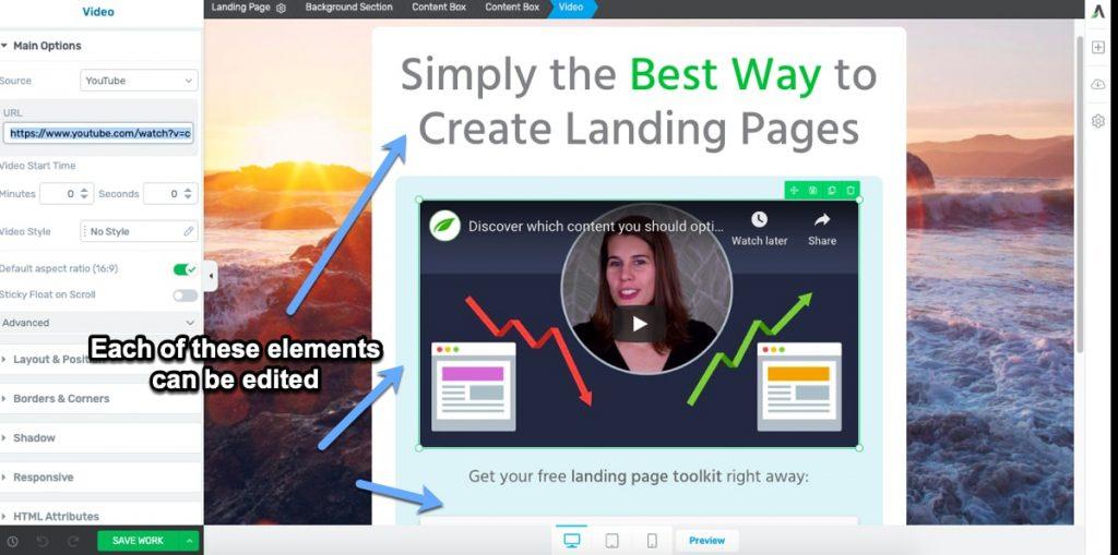 editing landing page