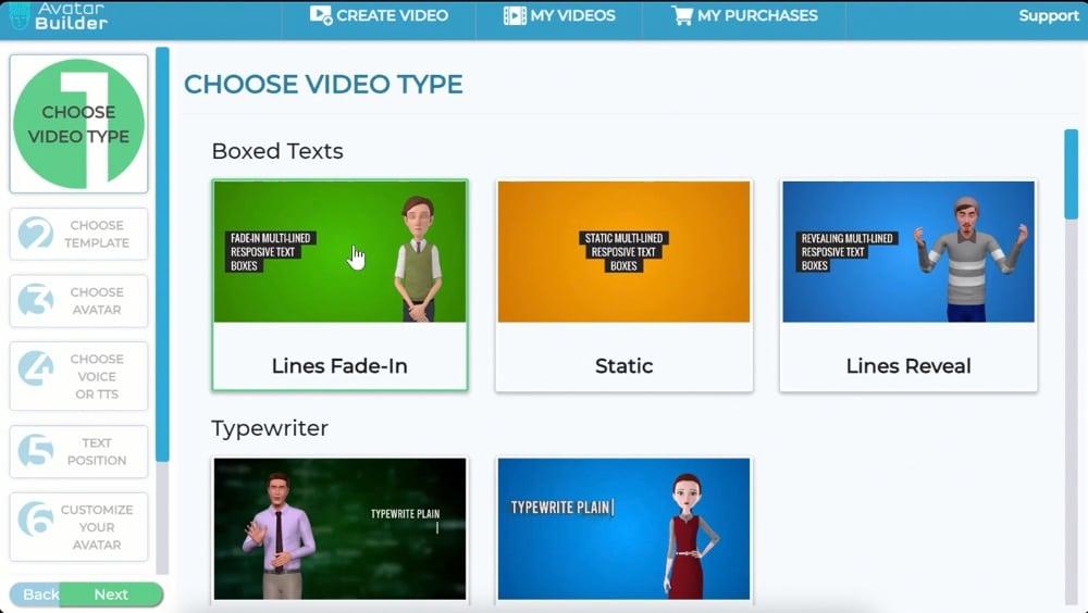 avatar builder video type