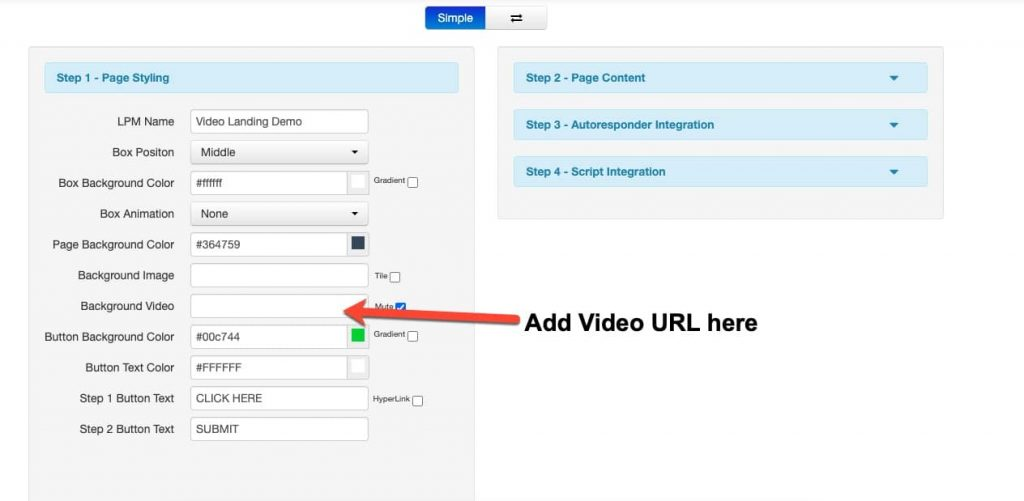 create video landing page setting