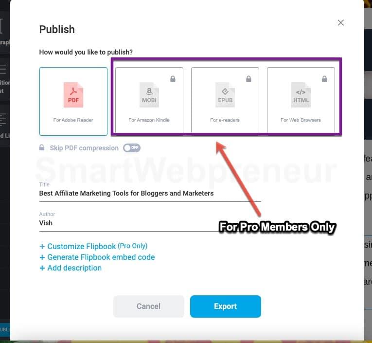 publishing the ebook